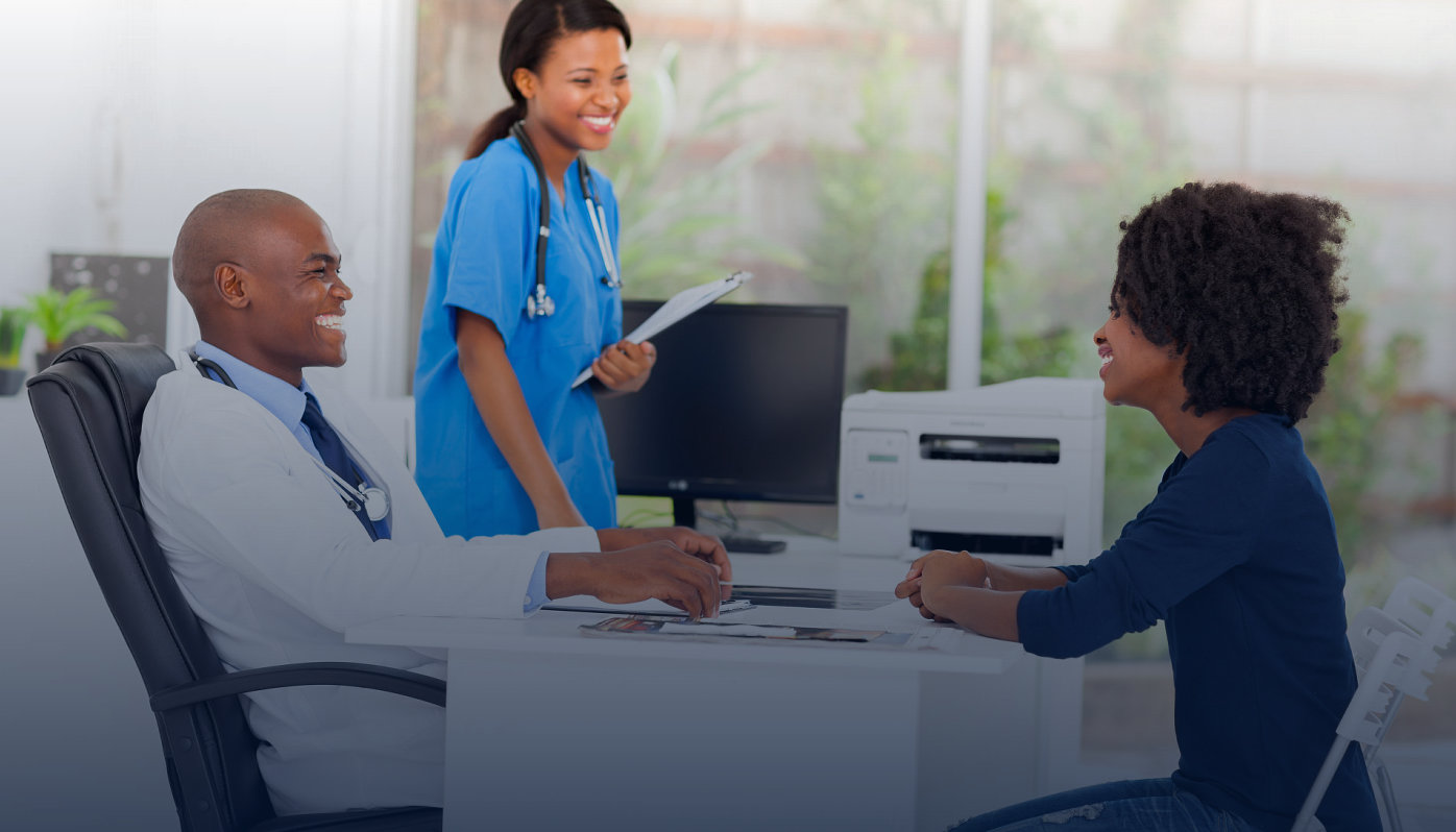 a patient talking to her doctor