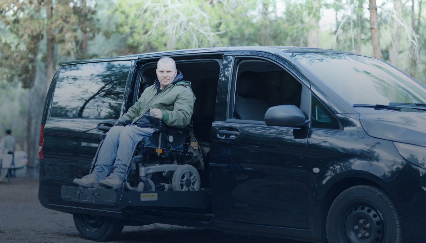 patient in a car