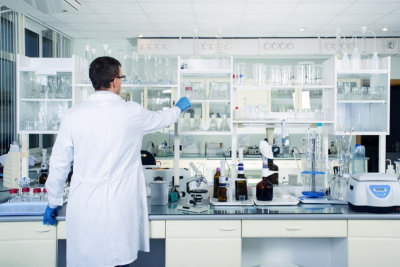 Interior of clean modern white medical or chemical laboratory background